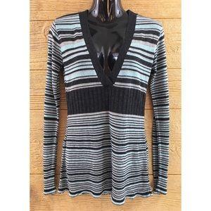 Lola Womens Shirt Medium Striped Mint Blue Black